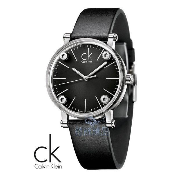【錶飾精品】CK WATCH/CK錶/CK手錶/CK Calvin Klein透視鏡面黑面黑皮帶大K3B2T1C1全新正品