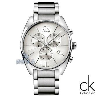 【錶飾精品】CK錶/CK手錶/Calvin Klein都會時尚/大錶徑三眼計時日期白面鋼帶男錶K2F27126全新