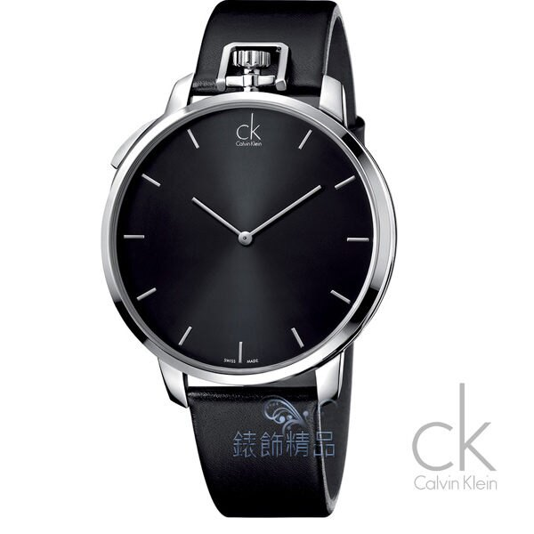 【錶飾精品】CK錶/CK手錶/CK表 時尚型男 大錶徑黑面黑皮帶男錶/座錶 懷錶 腕錶K3Z211C1全新