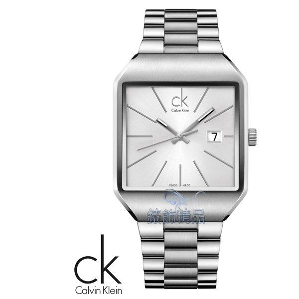 【錶飾精品】CK錶/CK手錶/CK Calvin Klein雅痞方形銀面鋼帶日期男錶K3L31166全新原廠正品
