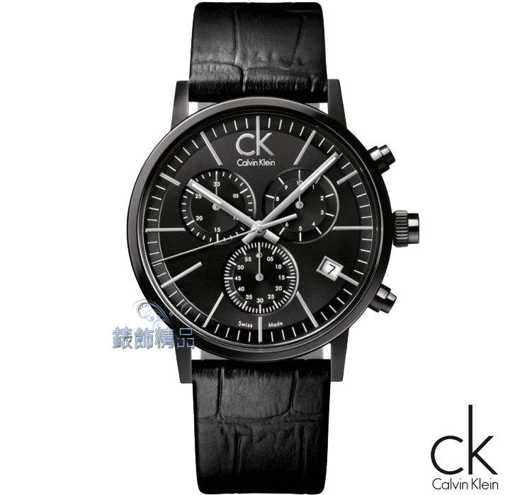 【錶飾精品】CK Calvin Klein凱文克萊夾層玻璃時尚IP黑計時皮帶男錶 K7627401 我可能不會愛妳 李大仁