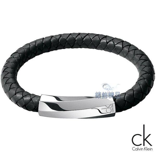 【錶飾精品】CalvinKleinCK飾品CK手環316L白鋼迷惘系列2013新款-黑色皮繩編織手環KJ2BBB0901