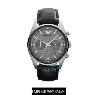 【錶飾精品】ARMANI手錶/ARMANI錶/亞曼尼表 三眼計時日期 鐵灰面黑皮帶男表AR5994全新正品