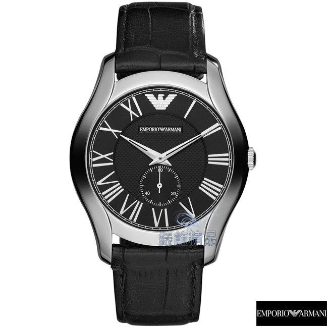 【錶飾精品】ARMANI手錶 亞曼尼表 新款羅馬時標小秒黑面黑皮錶帶男表AR1703禮物