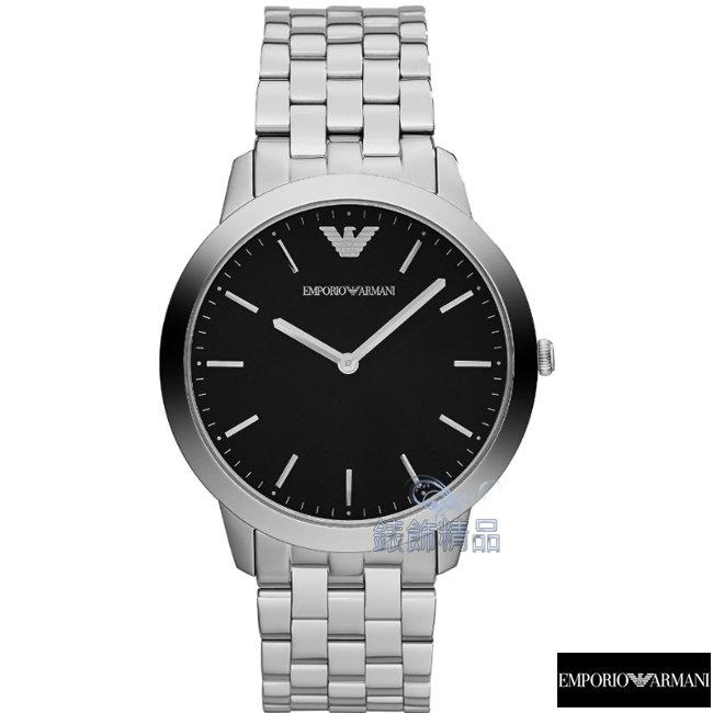 【錶飾精品】 ARMANI手錶 ARMANI錶 亞曼尼時尚簡約 超薄 黑面鋼帶男錶AR1744 禮物