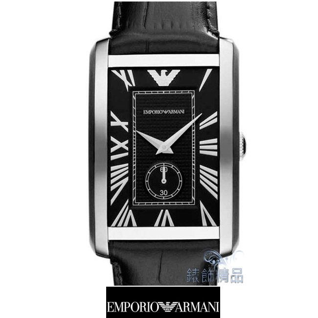 【錶飾精品】ARMANI手錶/ARMANI錶/亞曼尼表/方形黑面小秒黑皮帶男錶AR1604