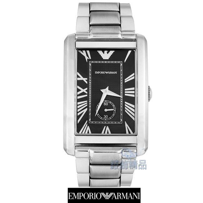 【錶飾精品】ARMANI錶/亞曼尼表/經典款方形小秒針羅馬時標.黑面鋼帶男錶AR1608
