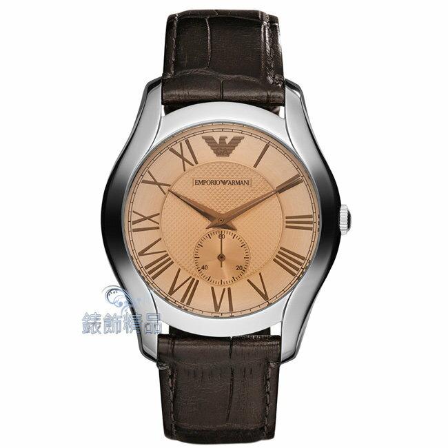 【錶飾精品】ARMANI手錶 亞曼尼 經典時尚 薄型 小秒針咖啡皮帶男錶AR1704全新原廠正品 禮物