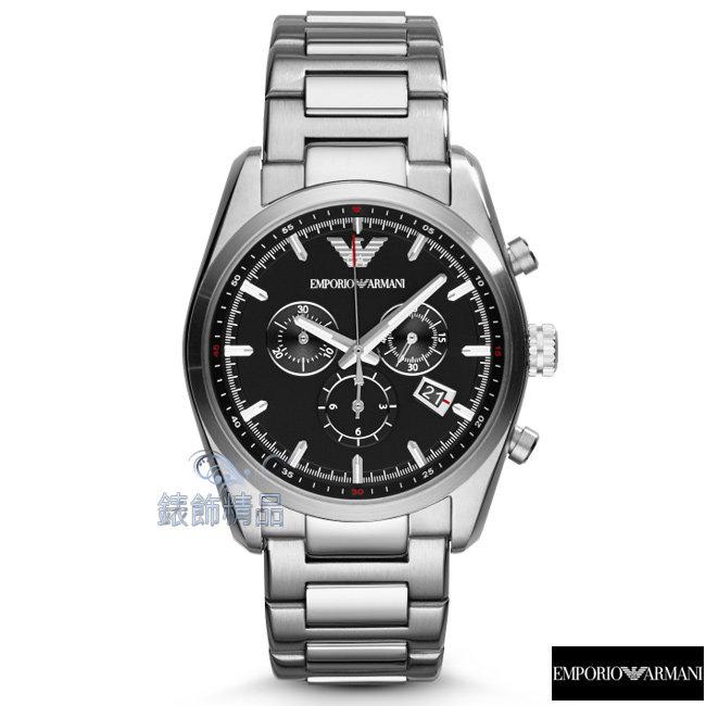 【錶飾精品】ARMANI手錶 亞曼尼 三眼計時 日期 黑面鋼帶男錶AR6050全新原廠正品 禮物