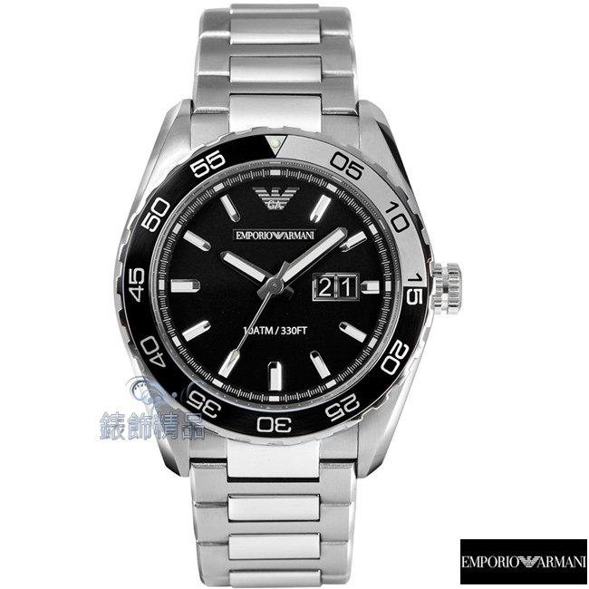 【錶飾精品】ARMANI手錶 亞曼尼 運動款 防水 夜光 日期 黑面鋼帶男錶AR6047原廠正品 禮物