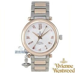 【錶飾精品】Vivienne Westwood 英倫時尚腕錶 星球墜飾 銀面玫金框 心型放射錶盤鋼帶VV006RSSL原廠正品 禮物