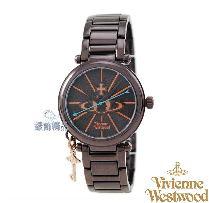 【錶飾精品】Vivienne Westwood 英倫時尚腕錶 星球放射錶盤 土星鑰匙墜飾 咖啡玫金面鋼帶VV006KBR原廠正品 禮物