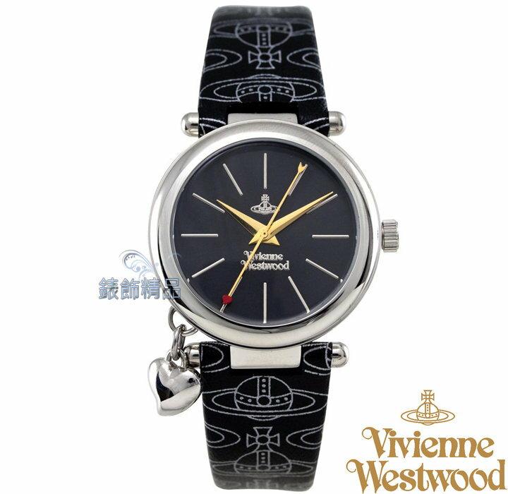 【錶飾精品】Vivienne Westwood 英倫時尚腕錶 心型墜飾 銀框 LOGO圖紋黑色真皮錶帶VV006BKBK原廠正品 禮物