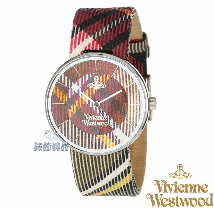Vivienne Westwood 經典英式蘇格蘭格紋腕錶 - 紅色格紋/36mm (VV020BR)