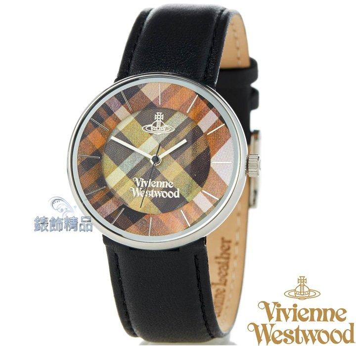 【錶飾精品】Vivienne Westwood 英倫時尚腕錶 星球 格紋面 黑皮帶VV020BK原廠正品 禮物