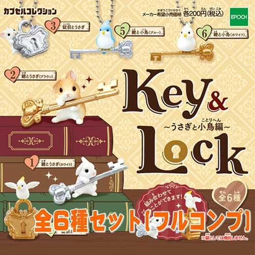 全套6款【日本正版】鑰匙&鎖兔兔與小鳥篇扭蛋轉蛋EPOCH-614148