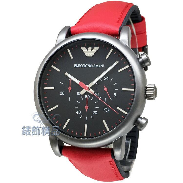 【錶飾精品】ARMANI手錶 亞曼尼表 時尚休閒 鐵灰框紅膠帶男錶 AR1971 日期 計時 全新原廠正品 情人生日禮物