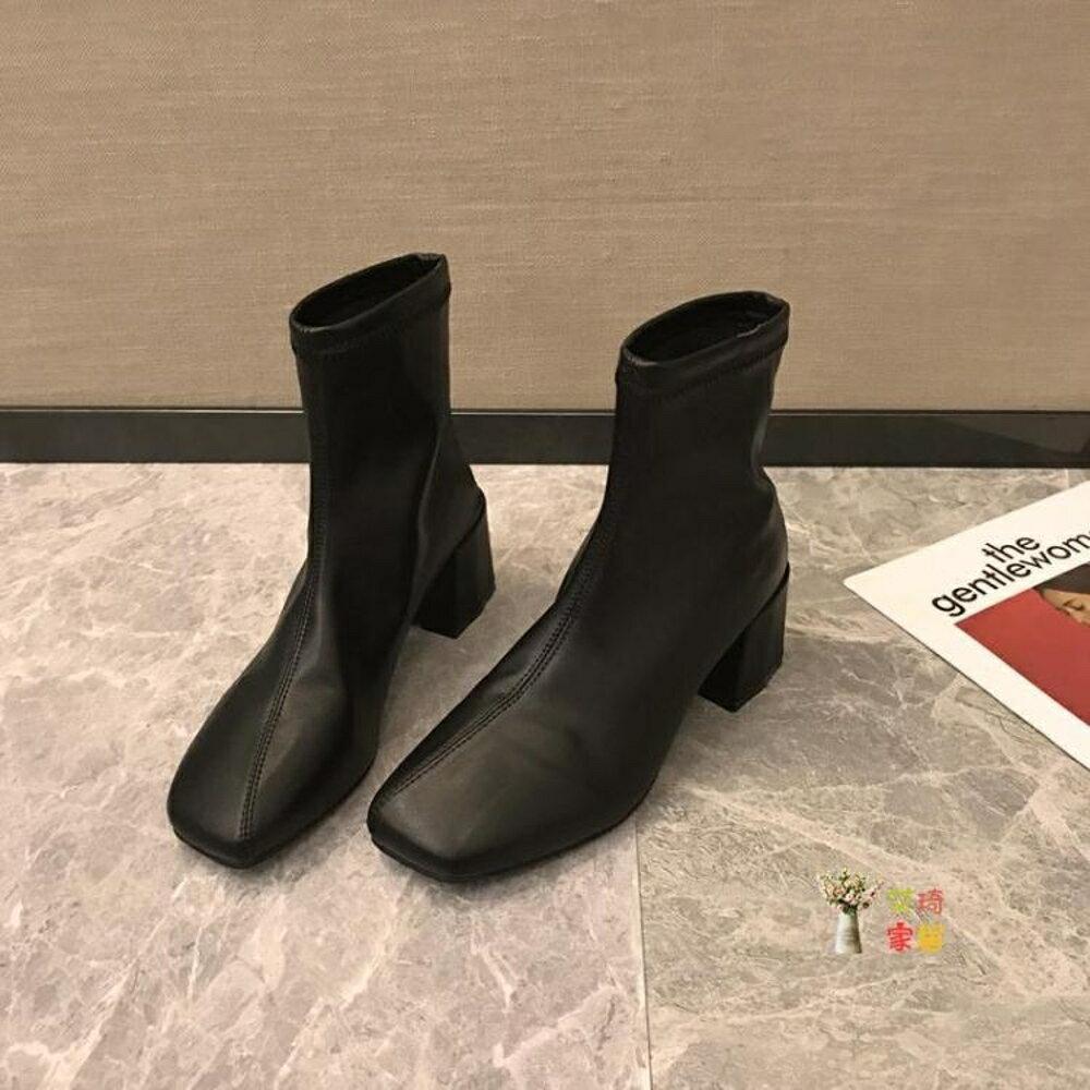 短靴 方頭短靴女2020冬季新款秋款粗跟馬丁高跟靴子百搭網紅瘦瘦靴刷毛 2色35-39【99購物節】