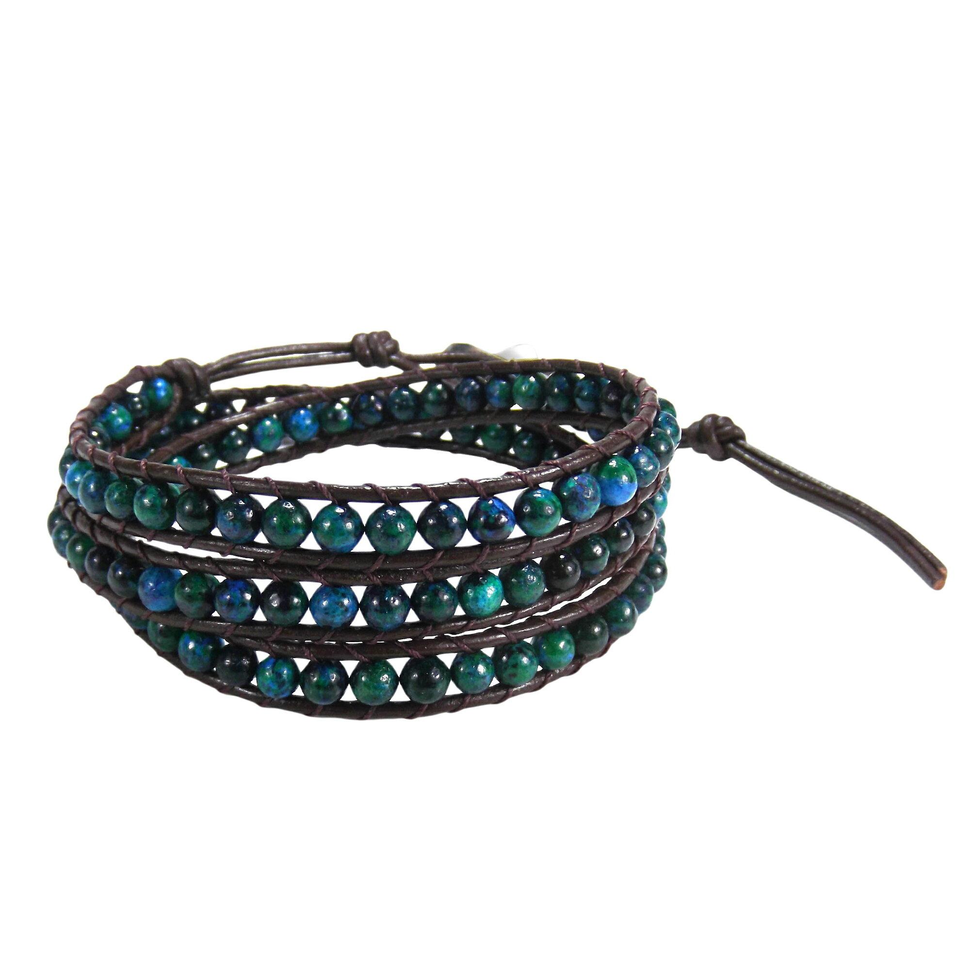 Blue-Green Muse Malachite Gemstone Tribal Wrap Leather Bracelet (Thailand) 0