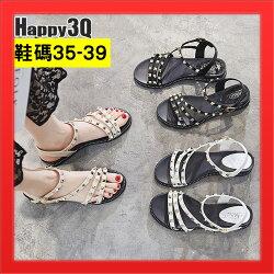 羅馬鞋子鉚釘鞋子露腳趾女鞋子素面平底鞋子散步鞋-黑/米/白35-39【AAA4317】
