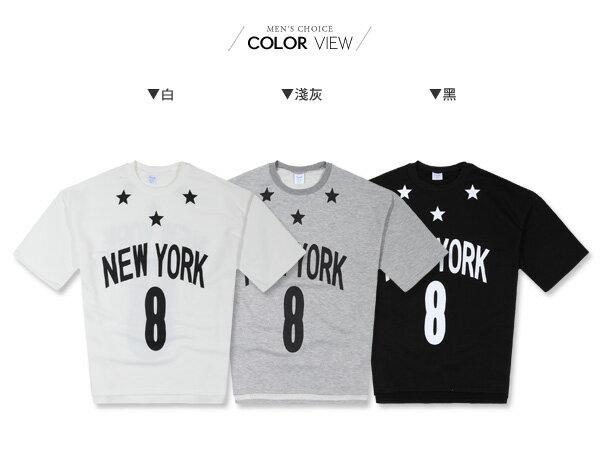 ☆BOY-2☆【PPK86132】韓版NEW YORK 8星星寬鬆男裝七分袖T恤 2
