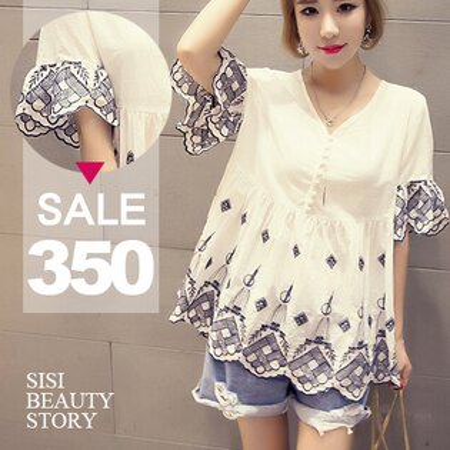 SiSi Girl:SISI【D6166】韓版清新百搭寬鬆顯瘦V領短袖刺繡傘狀下襬棉麻上衣連身裙洋裝