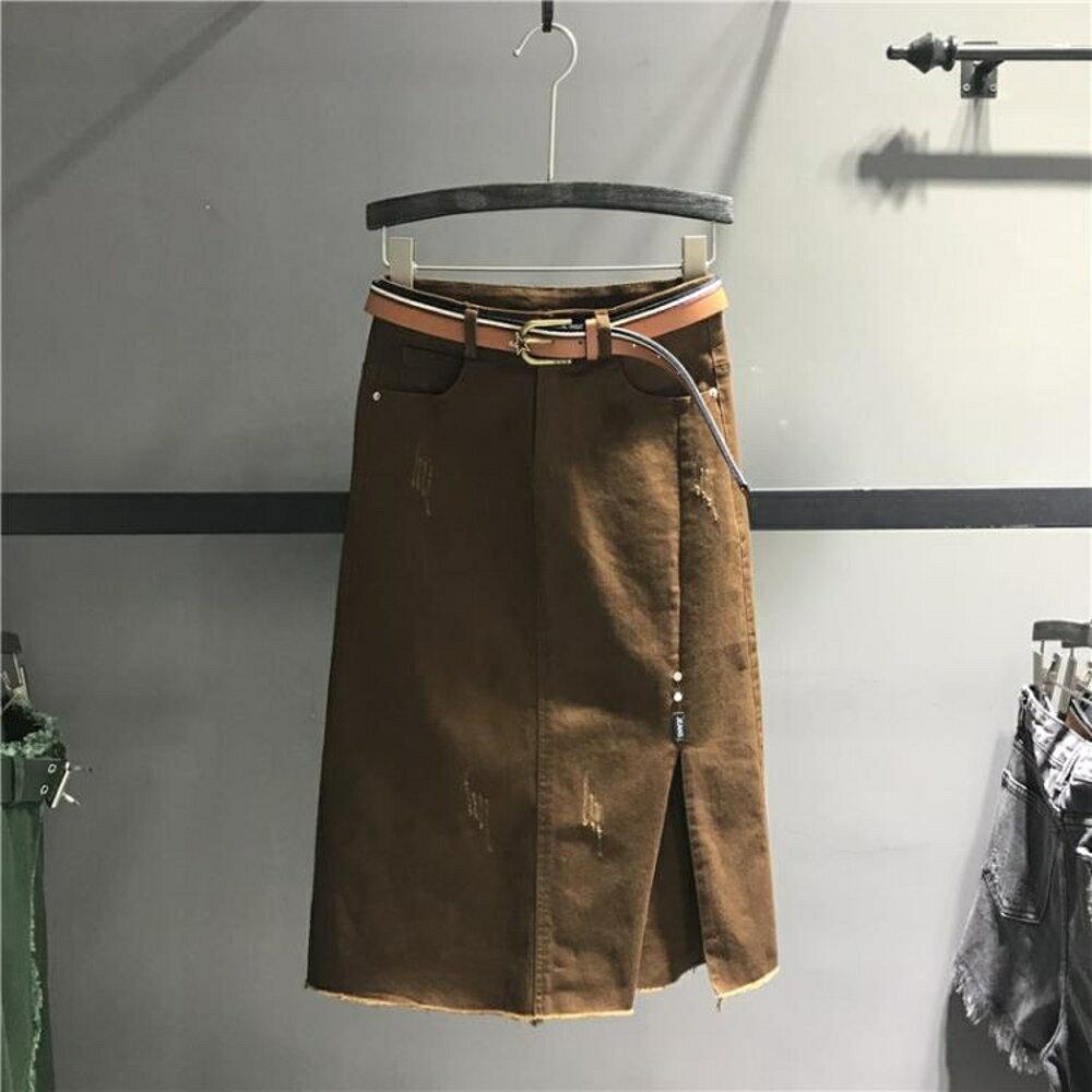牛仔裙 2019秋季新款彈力牛仔半身裙女中長款顯瘦開叉a字包臀裙潮 曼慕衣櫃