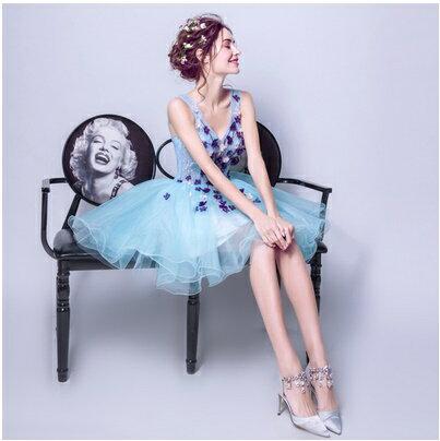 天使嫁衣【AE7699】水藍色蕾絲馬甲透視上身點綴珠花澎感短禮服˙預購訂製款