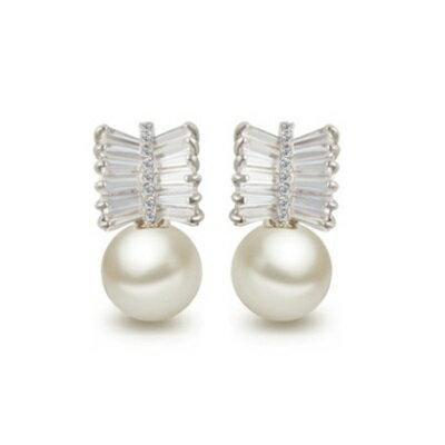 純銀耳環鍍白金鑲鑽耳飾~高檔華麗典雅貝殼珠生日情人節 女飾品73cr70~ ~~米蘭 ~
