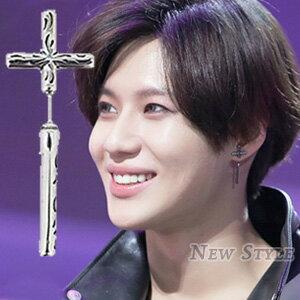 ☆ New Style ☆ 韓國進口 SHINee 泰民 西德鋼 同款復古十字雕花耳環 (單支價)