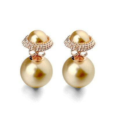 玫瑰金耳環925純銀鑲鑽耳飾~ 復古高貴唯美情人節生日 女飾品3色73gs243~ ~~米