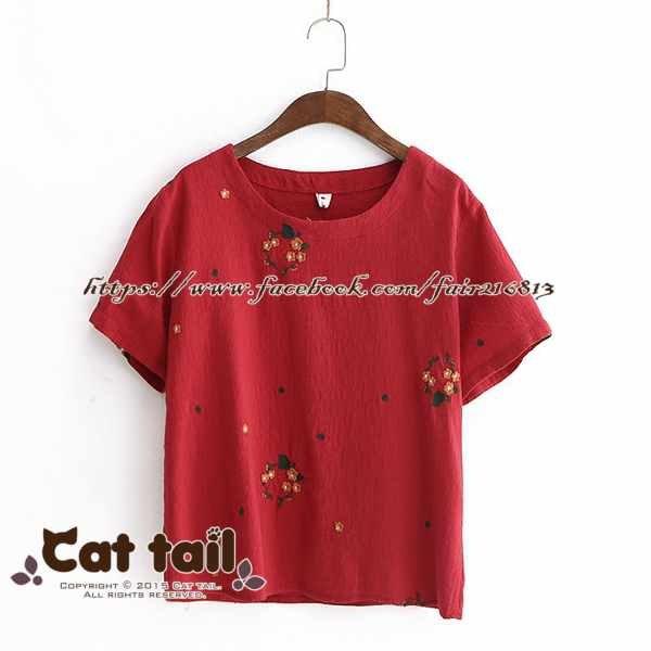 《貓尾巴》LZ-03166韓版小清新花朵刺繡短袖上衣(森林系日系棉麻文青清新)