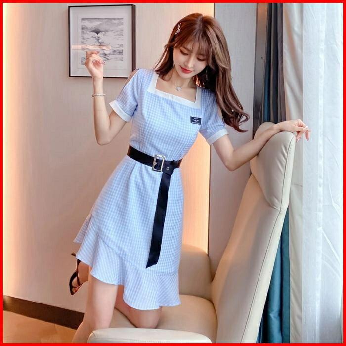 韓系春夏短袖洋裝婚禮宴會派對連身裙雪紡格子短款荷葉邊連衣裙 依米迦