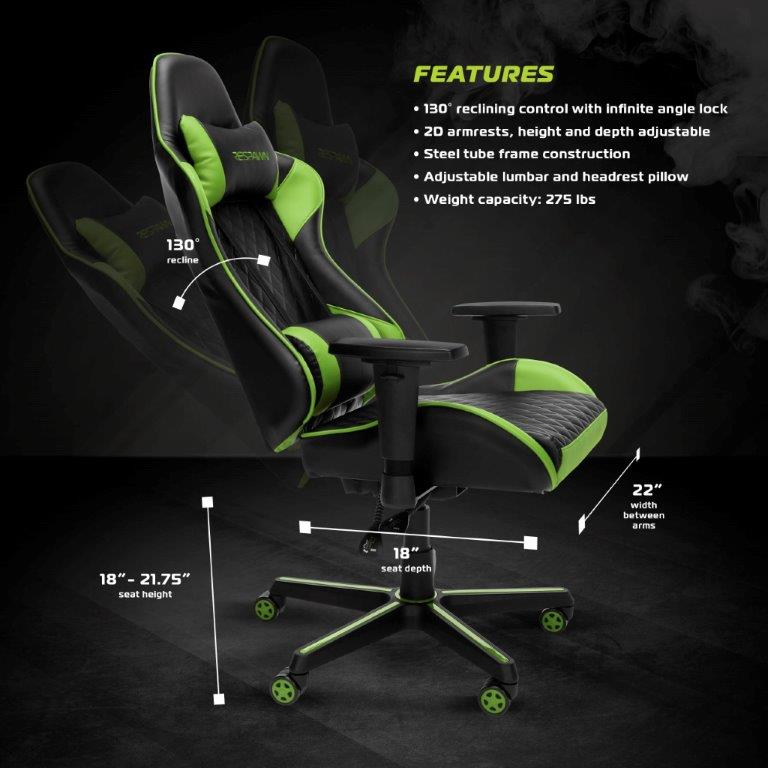 RESPAWN Racing Style Gaming Chair - Reclining Ergonomic Leather Chair, Office or Gaming Chair (RSP-100) 1