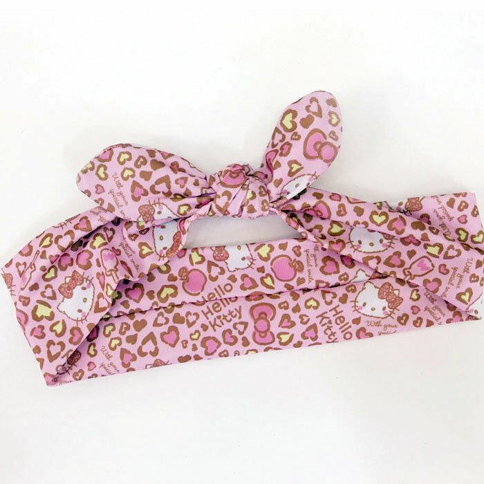 【真愛日本】17110400008 兔耳束髮髮帶-KT豹紋粉 三麗鷗 kitty 凱蒂貓 髮束 髮飾 美髮飾品