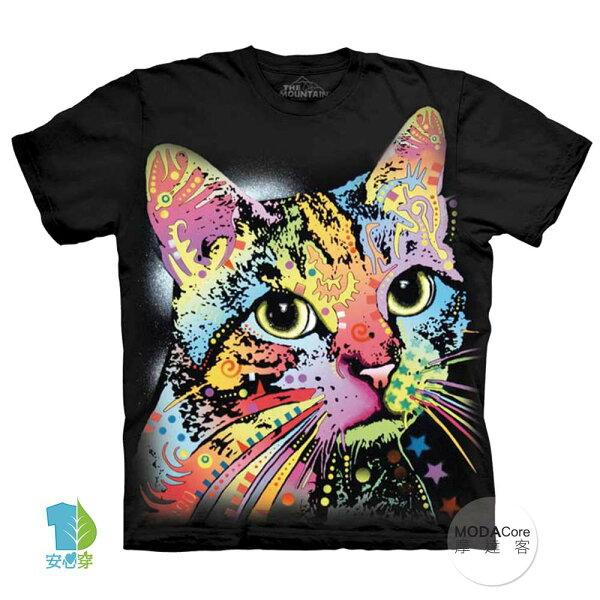 【摩達客】(預購)美國進口TheMountain彩繪卡通貓純棉環保藝術中性短袖T恤