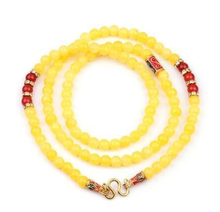佛牌鏈 水晶手鏈 黃玉石佛牌鏈 時尚水晶飾品