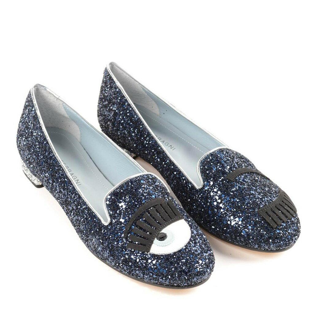 Chiara Ferragni CF 808 小牛皮Flirting 眨眼圖案亮片樂福鞋 (星球藍色)