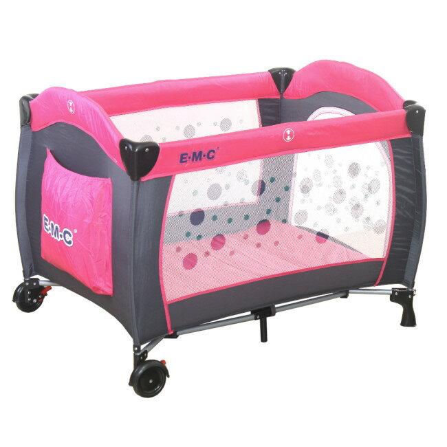 EMC 嬰幼兒安全遊戲床(幸福紅)加雙層架及尿布台