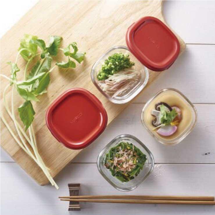 HARIO 方形玻璃保鮮盒4件組/紅色/MKK-2012-R 2