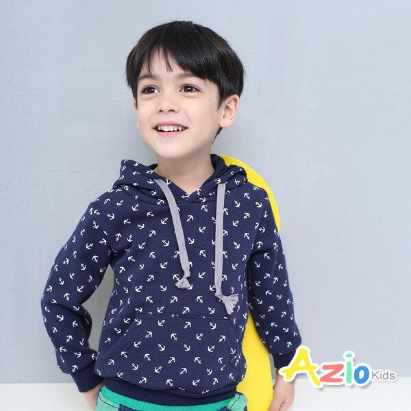 Azio Kids美國派:《美國派童裝》連帽上衣不倒絨船錨口袋連帽上衣(藍)