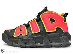 2018 NBA 超經典復刻 1996 年籃球鞋名作 NIKE WMNS AIR MORE UPTEMPO HOT PUNCH 女鞋 全氣墊 黑螢光橘紅 皮革 Scottie Pippen 著用 公牛隊 (917593-002) !