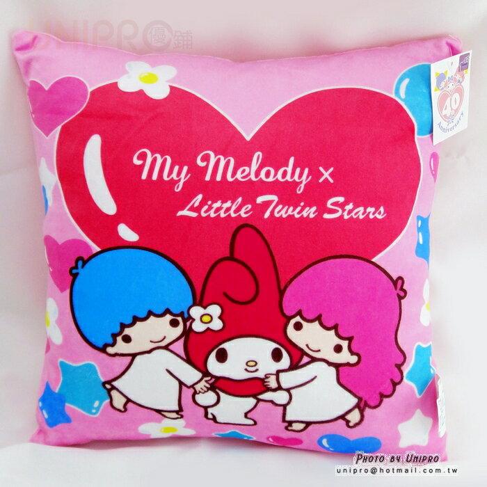【UNIPRO】 雙子星 X 美樂蒂 40周年紀念 方枕 靠枕 抱枕 三麗鷗正版授權 Melody Twin Stars