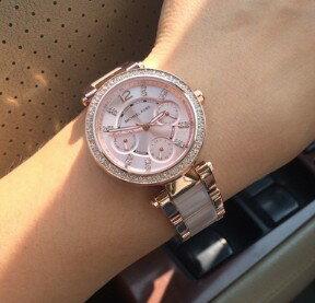 【限時8折 全店滿5000再9折】MichaelKors MK 大粉玫瑰金 水鑽  陶瓷  三環 手錶 腕錶 MK6110 美國Outlet正品代購 5