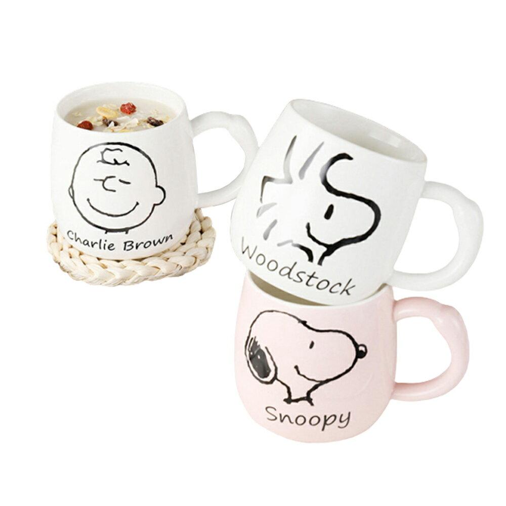 【2入組特價】SNOOPY史努比圓肚陶瓷杯/辦公室馬克杯/個人牛奶杯/帶蓋帶勺-350ml【優廚寶】