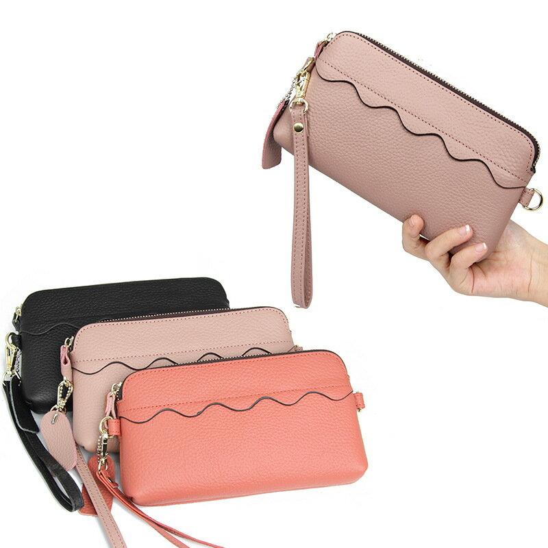 手拿包真皮錢包-純色多功能大容量牛皮女包包5色73wz25【獨家進口】【米蘭精品】 1