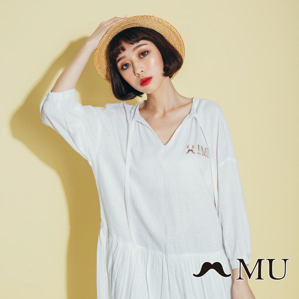 【MU】領口綁繩娃娃寬鬆休閒洋裝(2色)8313263 5