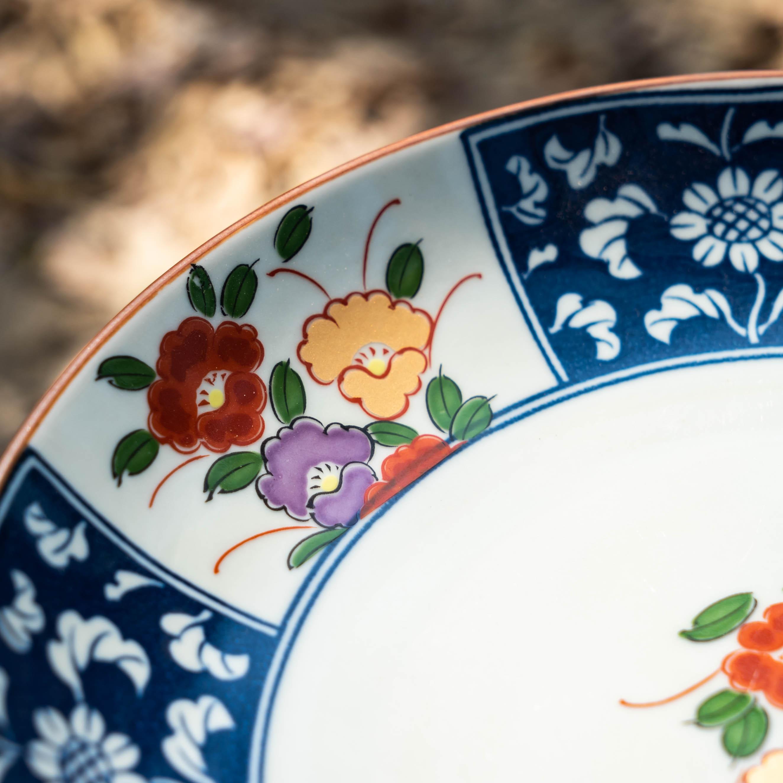 餐盤/餐具/有田燒//錦有田8.5吋淺盤/日本進口/日本盤/陶瓷碗/美濃燒