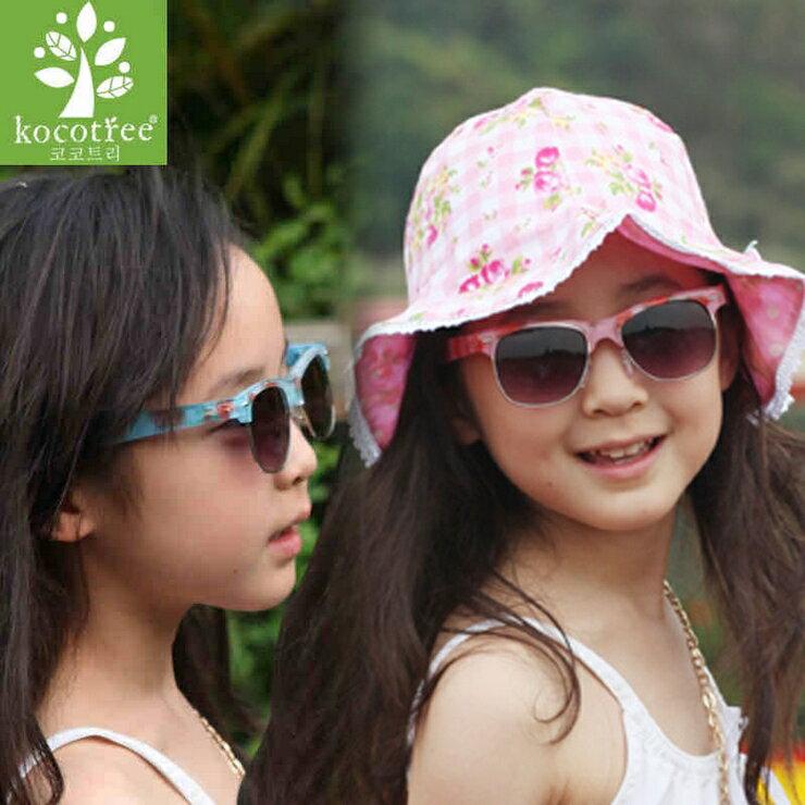 Kocotree◆時尚琉璃玫瑰花朵鏡框兒童太陽眼鏡
