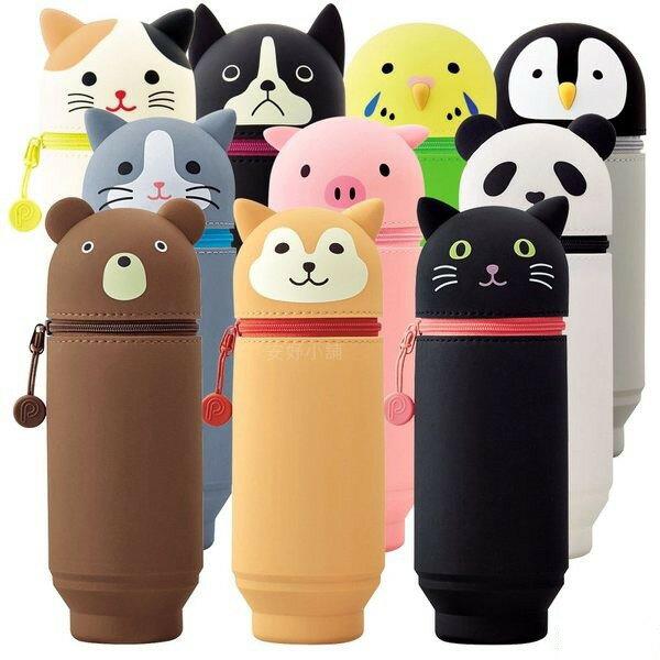 日本 LIHIT LAB. A-7714 (大) / A-7712 (小) 動物造型直立式伸縮鉛筆盒 伸縮筆筒 筆袋